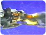 Orion plunges his damaged ship into the side of X-Bomber